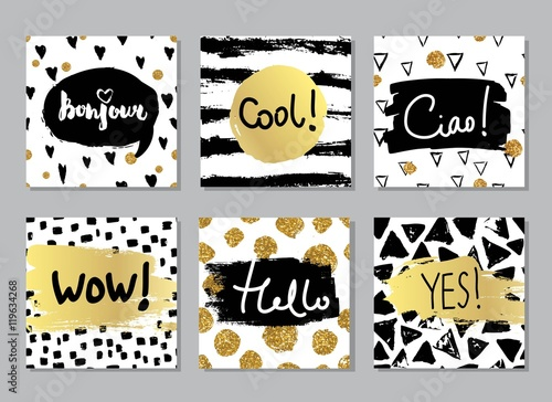 Creative fashion glamour hand drawn calligraphic card set vector collection of black white