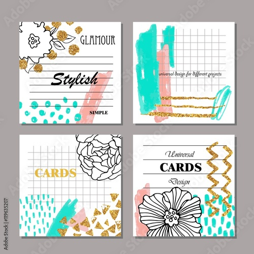 Set of hand drawn creative universal cards posters brochures set of hand drawn creative universal cards posters brochures flyers wedding stopboris Image collections