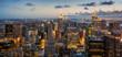 Panoramic view of New York City at sunset
