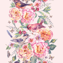NaklejkaWatercolor seamless border. Birds and rose