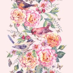 Naklejka Watercolor seamless border. Birds and rose