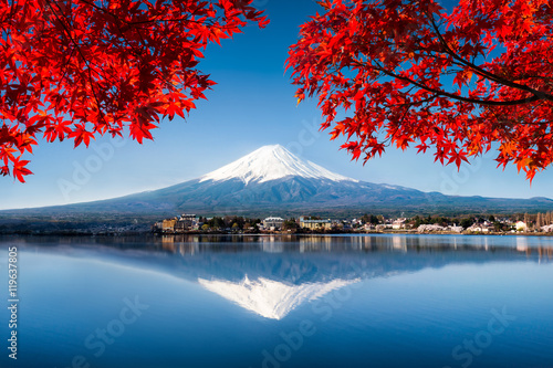 Poster Photo du jour Berg Fuji in Japan im Herbst