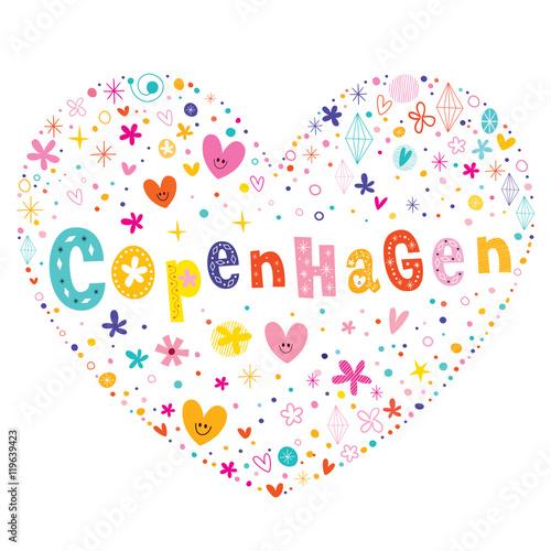 Copenhagen the capital of Denmark heart shaped type lettering vector design Poster