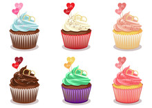 Set Of Colorful Sweet Cupcakes With Decorations