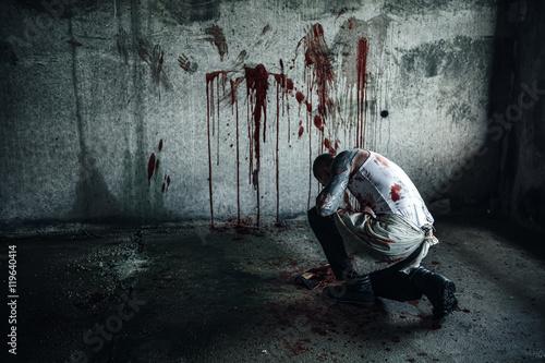 Fotografie, Obraz  Bloody clown-maniac with ax
