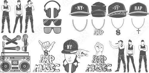 Photo  Vector set of logos for rap music style. Logo for t-shirts, musi