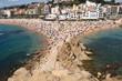 Beach in the seaside town of Blanes, Costa Brava, Girona provinc