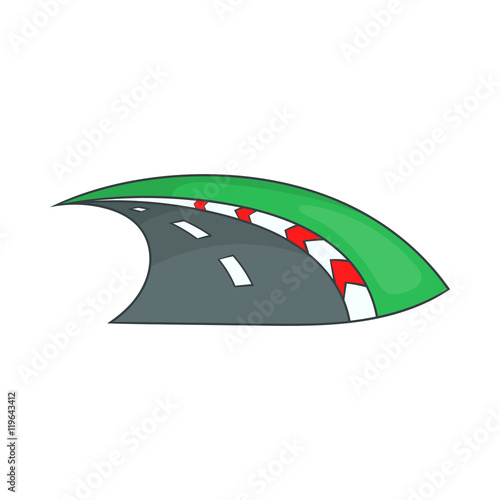 Fotografía  Speedway icon in cartoon style isolated on white background