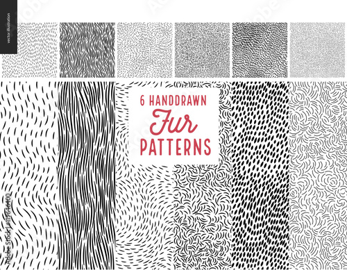 Fotomural Handdrawn patterns set
