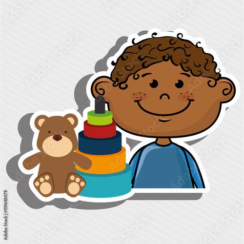 Foto op Canvas Honden boy toys happy cartoon vector illustration graphic
