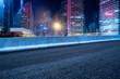 empty asphalt road with cityscape and skyline of Shanghai