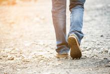 Legs Of Lonely Man Wearing Jea...