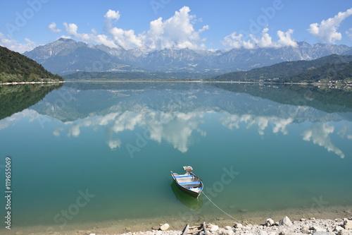 Poster Reflexion Lago di Santa Croce panorama