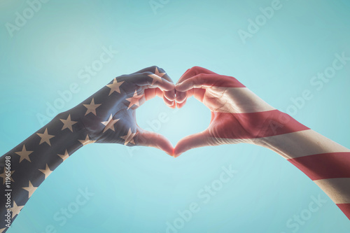 Photo  USA patriot, veterans, independence day with American flag pattern on people han