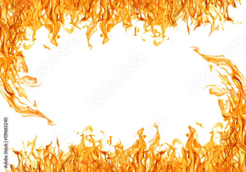 Fotobehang Vuur dark yellow flame frame isolated on wite