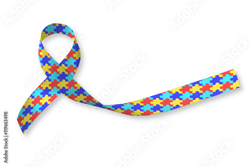 World Autism Awareness Day WAAD Colorful Puzzle Fabric Ribbon Logo Isolated Clipping Path On White