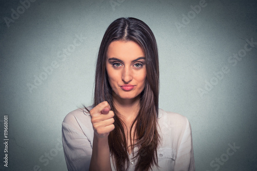 Valokuva  Woman giving thumb finger figa gesture you get zero nothing