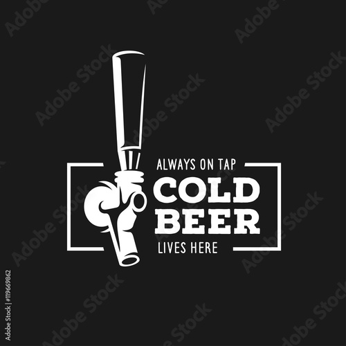 Tableau sur Toile Beer tap with quote. Vector vintage illustration.