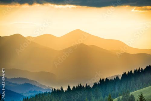 Printed kitchen splashbacks Beige Beautiful sunset in the mountains