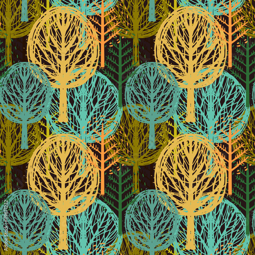 Seamless pattern with autumn trees  - 119671232