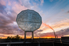 Big Nickel Landmark In Sudbury, Ontario, Canada During Sunset