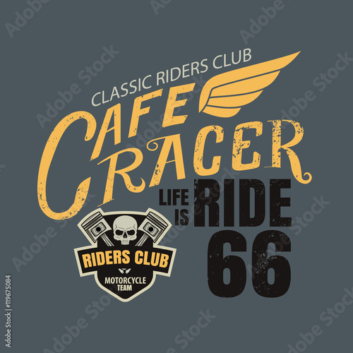 Cuadros en Lienzo cafe racer typographic for t-shirt,tee design