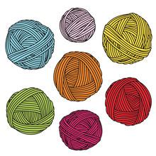 Colorful Yarn Balls. Wool Skeins.