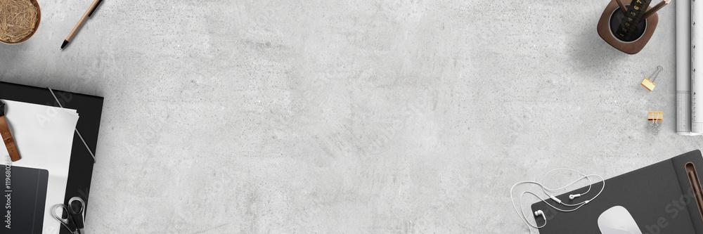 Fototapeta modern office desktop scene - topview banner