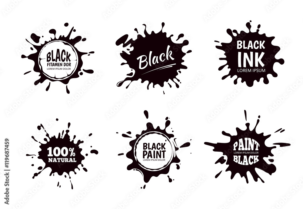 Fototapety, obrazy: Vector set of ink splashes, blots. Splatter collection.