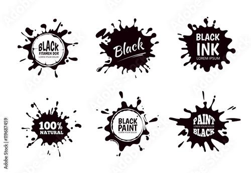 Fotografie, Obraz  Vector set of ink splashes, blots. Splatter collection.