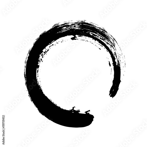 Hand drawn circle shape. Circular label, logo design element, frame. Brush abstract wave. Black enso zen symbol. Vector illustration. Place for text.