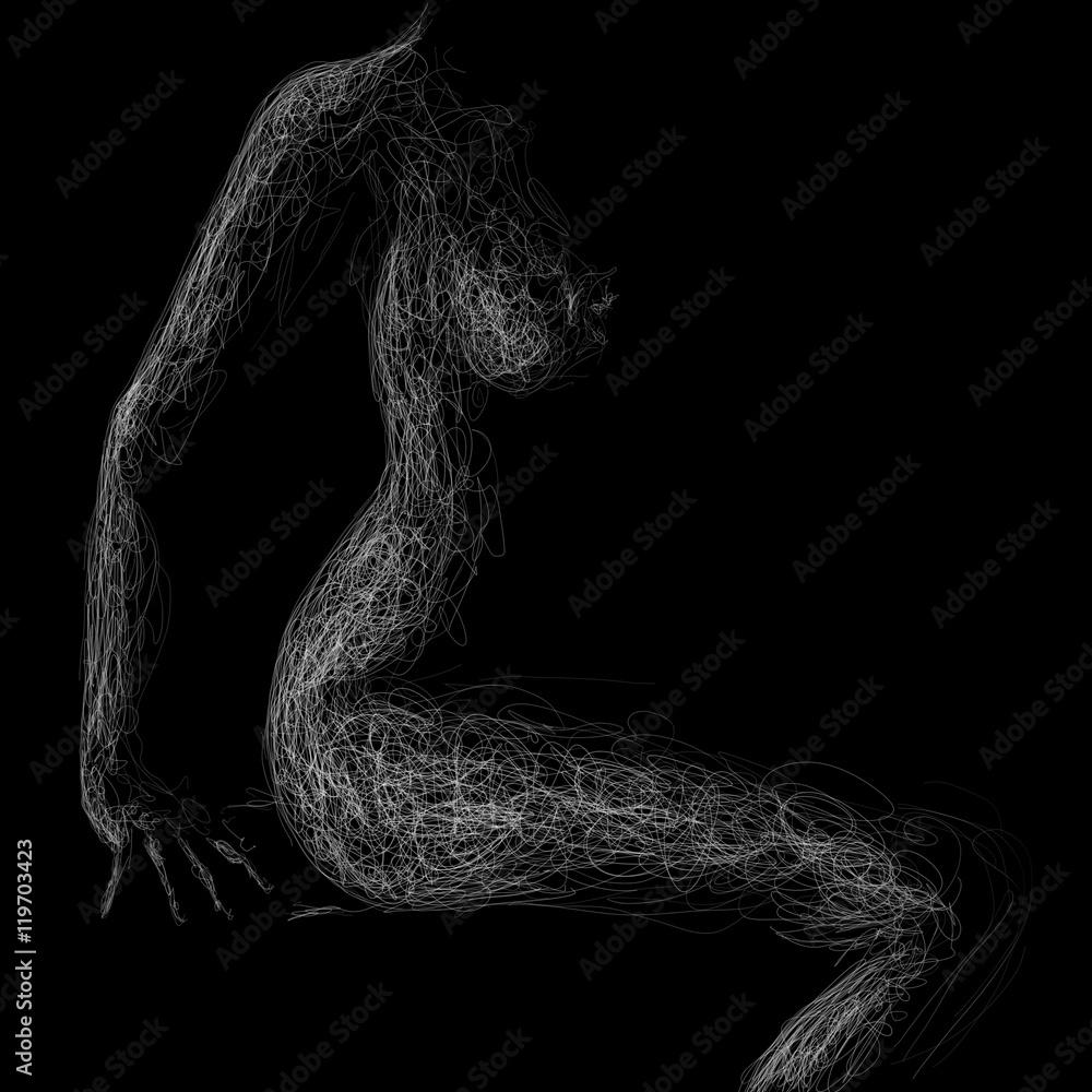 Fototapety, obrazy: siedząca naga kobieta