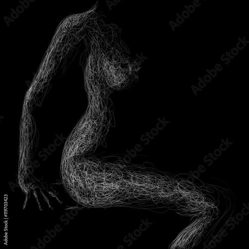 siedząca naga kobieta - fototapety na wymiar