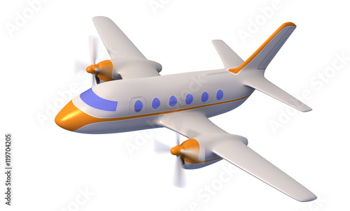 Plane Concept, White Airplane Isolated On White Background, Plane 3d
