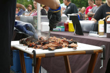 Beef Being Sliced Up For BBQ