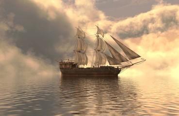Fototapeta3D Illustration Sailboat On The Sea