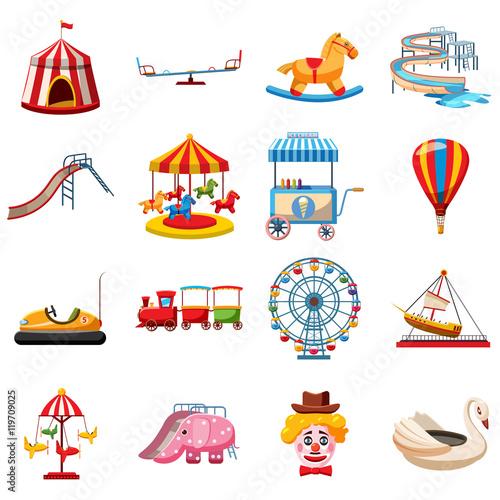 Foto Amusement park icons set in flat style