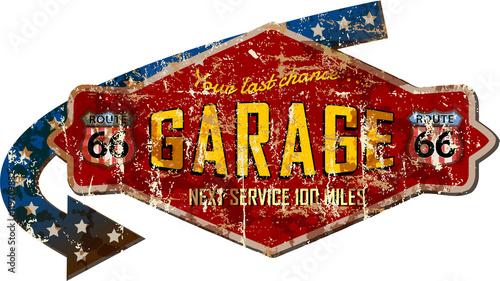 Obraz na płótnie grungy retro route 66 garage workshop sign, vector