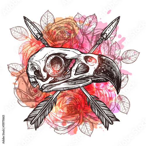 Poster de jardin Crâne aquarelle Fashionable Trendy Design With Eagle Skull, Arrows And Flowers