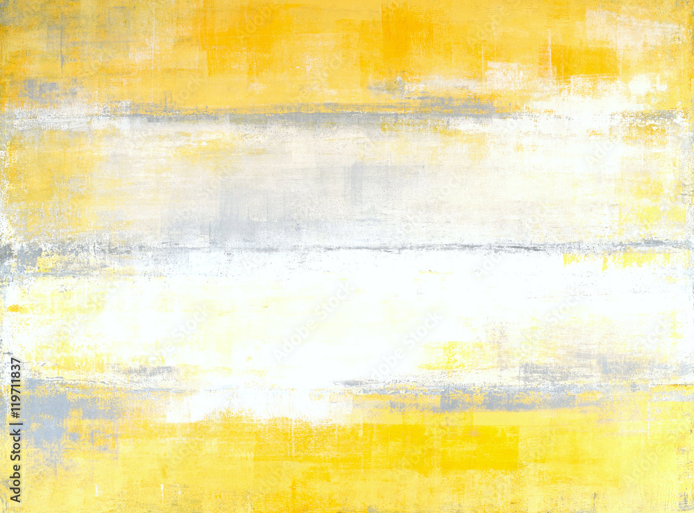 Fototapety, obrazy: Grey and Yellow Abstract Art Painting