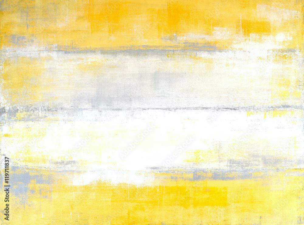 Fototapeta Grey and Yellow Abstract Art Painting