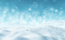 3D Christmas Background With Snow