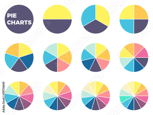 Charts for infographics. Diagrams with 1 - 12 parts. Fototapete