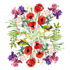 Fototapeta Watercolor hand drawn pattern with summer flowers and exotic birds.