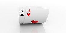 Two Aces Cards. 3d Illustration