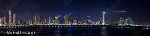 Fototapety, obrazy: Panoramic view of Panama City Skyline at night - Panama City, Panama