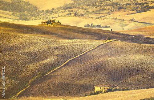 Staande foto Meloen Tuscan autumn landscape,retro colors, vintage