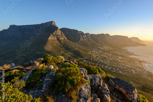 Photo Stands South Africa View of Table Mountain and 12 Apostles from Lion's Head. Cape Town. Western Cape. South Africa