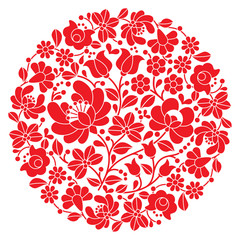 Fototapeta Kalocsai folk art embroidery - red Hungarian round floral folk pattern