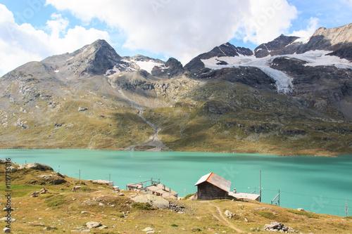 Garden Poster Scandinavia Lago Bianco dal passo del Bernina